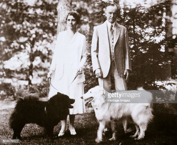 Calvin Coolidge 30th President of the United States and his wife 1920s or early 1930s Coolidge and his wife Grace at 'The Beeches' their home in...