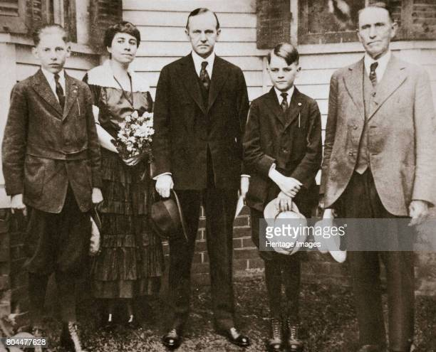 Calvin Coolidge American politician with his father wife and sons 1920 John Calvin Coolidge Jr was Governor of Massachusetts at the time of the...