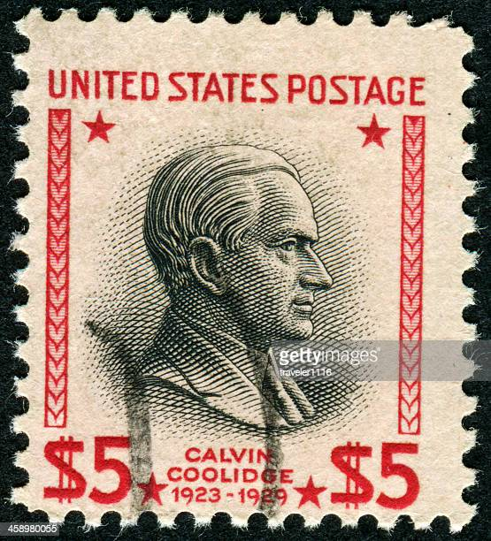 calvin coolidge stamp - calvin coolidge stock photos and pictures