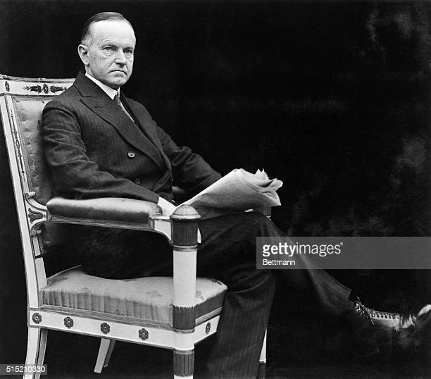 Calvin Coolidge Succeeded to US presidency on the death of Harding then elected to one full term Undated seated photograph