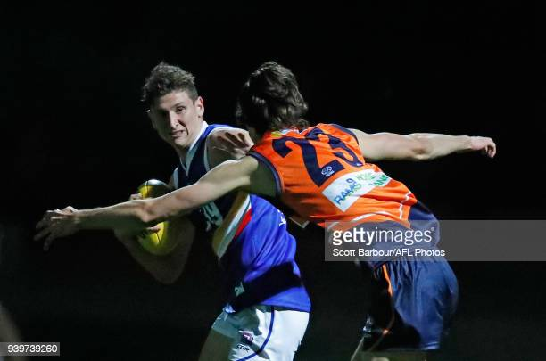 Calvin Daraio of the Calder Cannons runs with the ball during the round two TAC Cup match between Calder and Eastern Ranges at RAMS Arena on March 29...