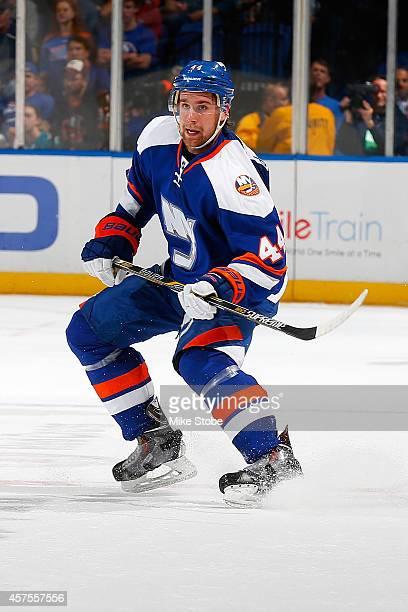 Calvin de Haan of the New York Islanders skates against the San Jose Sharks at Nassau Veterans Memorial Coliseum on October 16, 2014 in Uniondale,...