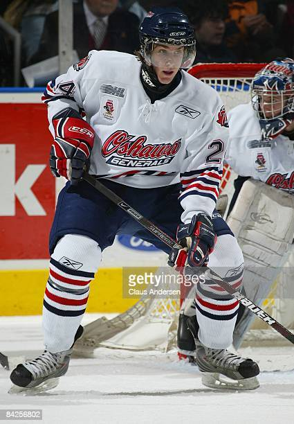 Calvin de Haan of the Oshawa Generals defends in a game against the London Knights on January 9 2009 at the John Labatt Centre in London Ontario The...