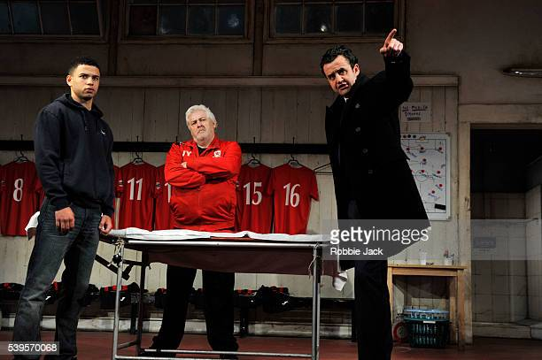 Calvin Demba as Jordan Peter Wight as Yates and Daniel Mays as Kidd in the National Theatre's production of Patrick Marber's The Red Lion directed by...