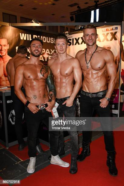 Calvin Flames Leon Rush and Bastian Maan during the Venus Erotic Fair Opening 2017 on October 12 2017 in Berlin Germany
