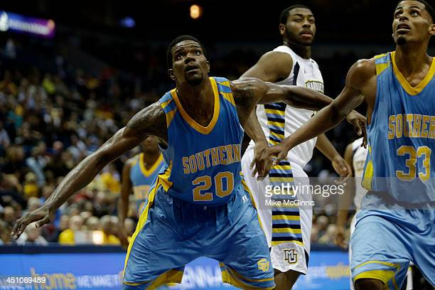 Calvin Godfrey of the Southern Jaguars boxes out for the rebound during the game against the Marquette Golden Eagles at BMO Harris Bradley Center on...