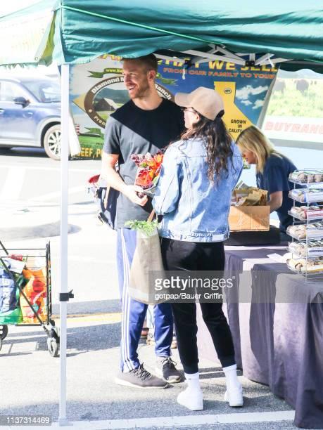 Calvin Harris and Aarika Wolf are seen on April 14 2019 in Los Angeles California