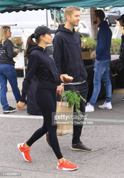 Calvin Harris and Aarika Wolf are seen on April 28 2019 in Los Angeles California