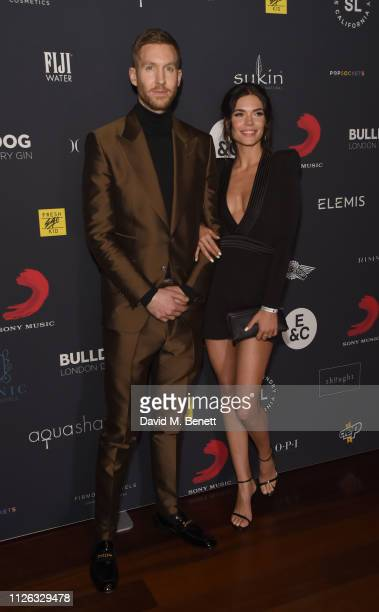 Calvin Harris and Aarika Wolf attend The BRIT Awards 2019 Sony after party at Aqua Shard on February 20 2019 in London England