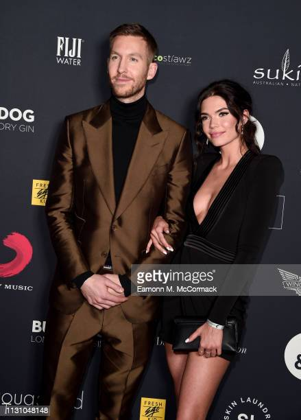 Calvin Harris and Aarika Wolf attend the Sony Music BRIT awards after party at aqua shard on February 20 2019 in London England