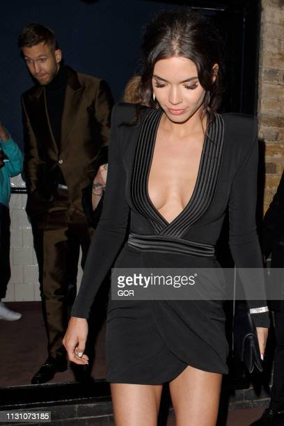 Calvin Harris and Aarika Wolf seen attending the BRITS 2019 Warner Music after party at the Chiltern Firehouse on February 20 2019 in London England
