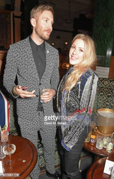 Calvin Harris and Ellie Goulding attend the Universal Music BRIT Awards AfterParty 2018 hosted by Soho House and Bacardi at The Ned on February 21...
