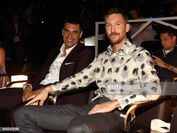 Calvin Harris and guest attend the 2017 MTV Video Music Awards at The Forum on August 27 2017 in Inglewood California