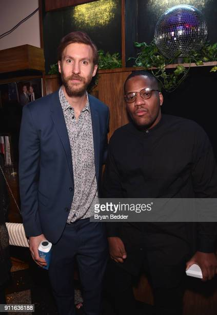 Calvin Harris and guest attend the 60th Annual Grammy Awards after party hosted by Benny Blanco and Diplo with SVEDKA Vodka and Interscope Records on...