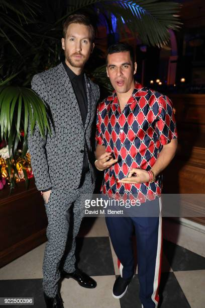 Calvin Harris and guest attend the Universal Music BRIT Awards AfterParty 2018 hosted by Soho House and Bacardi at The Ned on February 21 2018 in...