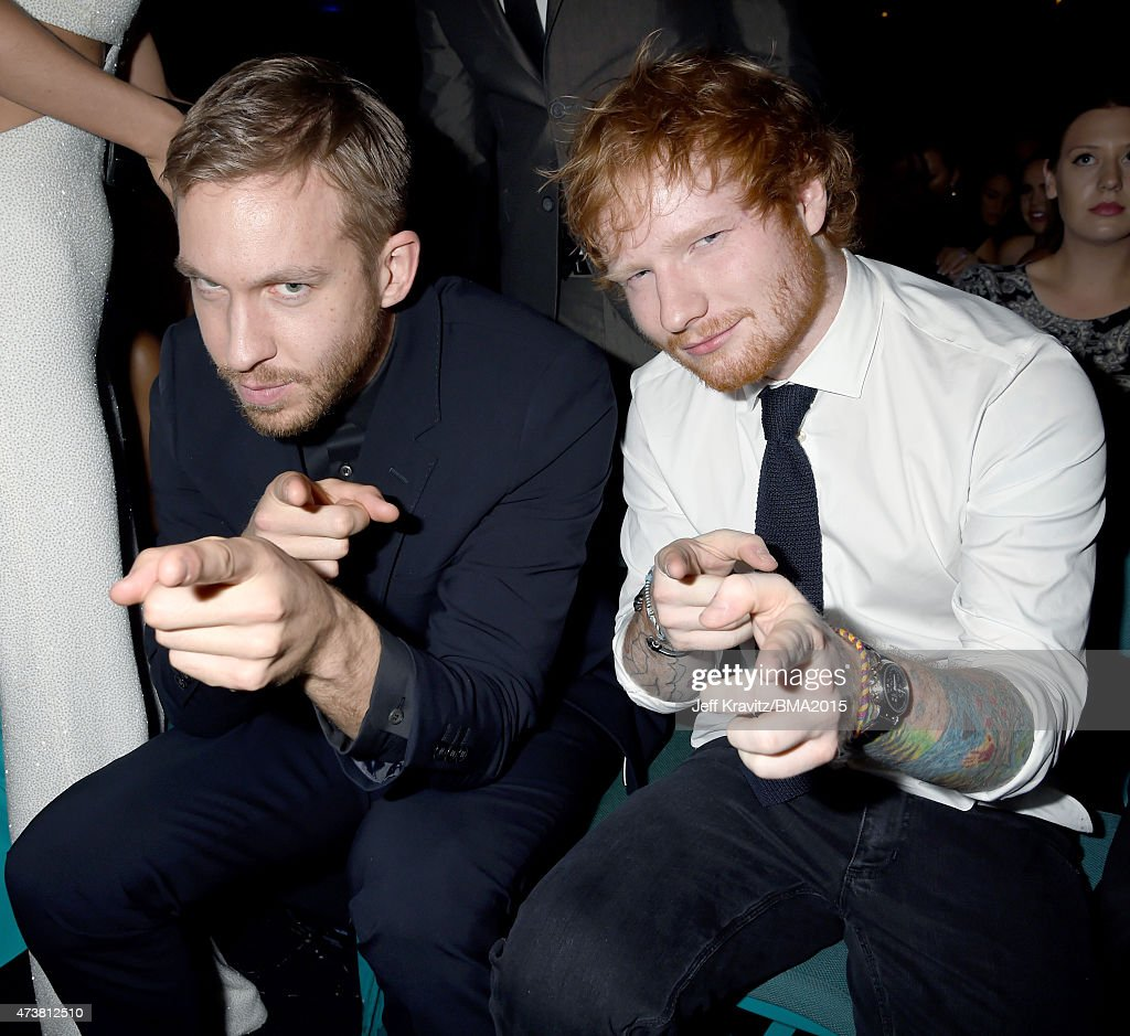 DJ Calvin Harris (L) and singer Ed Sheeran attend the 2015 Billboard Music Awards at MGM Grand Garden Arena on May 17, 2015 in Las Vegas, Nevada.