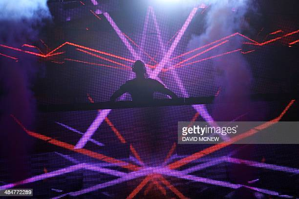 Calvin Harris performs at the Coachella Valley Music Arts Festival at the Empire Polo Club in Indio California April 13 2014 The annual music...