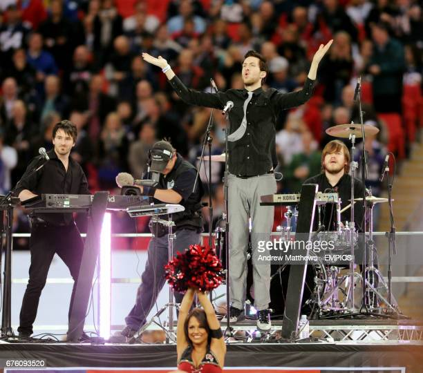 Calvin Harris performs before the game