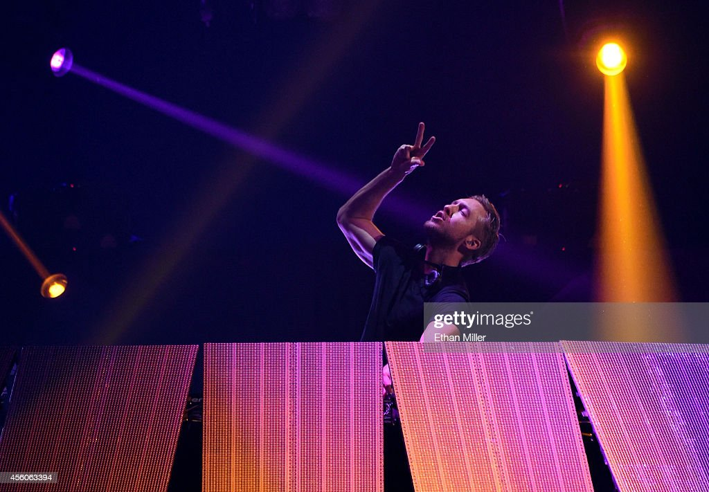 DJ Calvin Harris performs during the 2014 iHeartRadio Music Festival at the MGM Grand Garden Arena on September 20, 2014 in Las Vegas, Nevada.