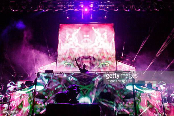 Calvin Harris performs on Day 2 of the V Festival at Hylands Park on August 23 2015 in Chelmsford England