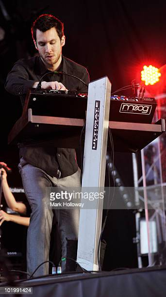 Calvin Harris performs on stage on the first day of the Isle OF White Festival at Seaclose Park on June 11 2010 in Newport Isle of Wight