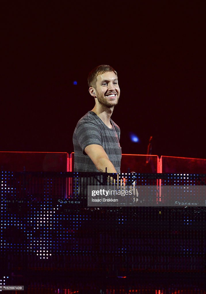 DJ Calvin Harris performs onstage during the 2012 iHeartRadio Music Festival at the MGM Grand Garden Arena on September 22, 2012 in Las Vegas, Nevada.