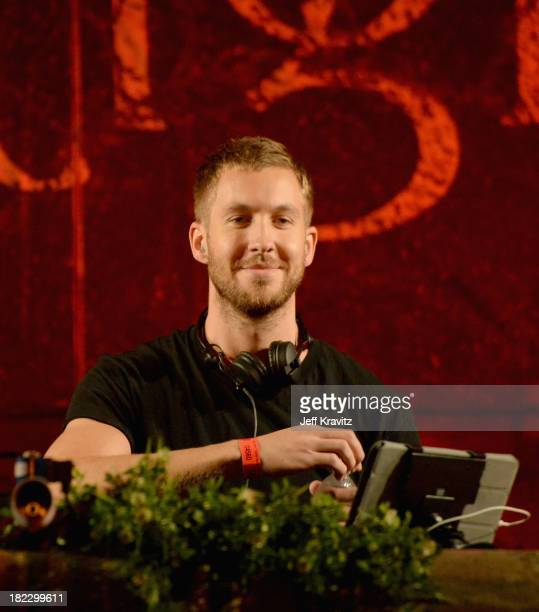 Calvin Harris spins onstage at TomorrowWorld Electronic Music Festival on September 28 2013 in Chattahoochee Hills Georgia