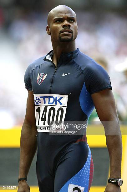 Calvin Harrison of the US in action during the first round of the men's 400m heats at the 9th IAAF World Athletics Championship August 23 2003 in...