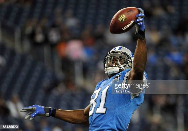 Calvin Johnson of the Detroit Lions catches a pass during warm up before the game against the Chicago Bears at Ford Field on October 5, 2008 in...