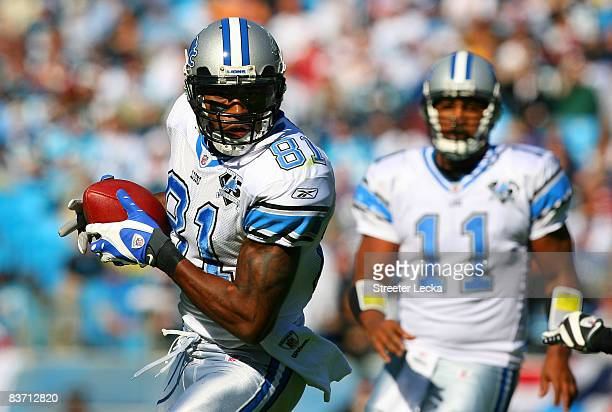 Calvin Johnson of the Detroit Lions makes a catch against the Carolina Panthers at Bank of America Stadium on November 16, 2008 in Charlotte, North...