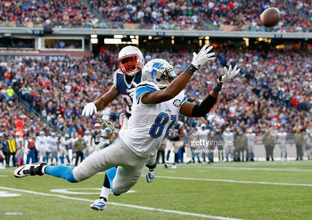 Calvin Johnson #81 of the Detroit Lions makes a diving catch for a first down as Brandon Browner #39 of the New England Patriots defends during the third quarter at Gillette Stadium on November 23, 2014 in Foxboro, Massachusetts.