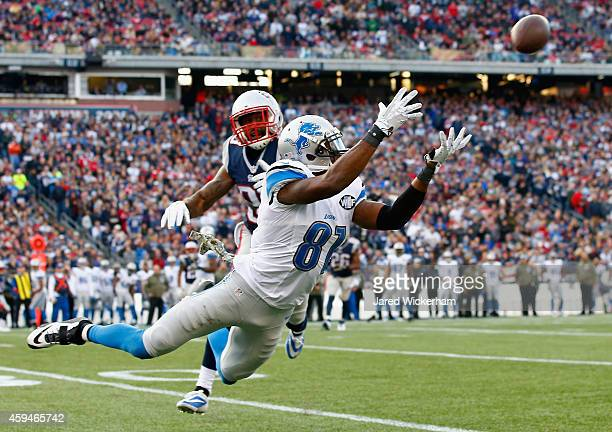 Calvin Johnson of the Detroit Lions makes a diving catch for a first down as Brandon Browner of the New England Patriots defends during the third...