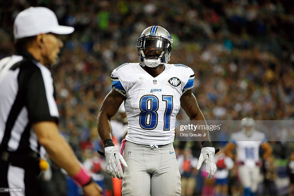 Calvin Johnson #81 of the Detroit Lions reacts after fumbling the ball near the goal line during the fourth quarter of a game against the Seattle Seahawks at CenturyLink Field on October 5, 2015 in Seattle, Washington.