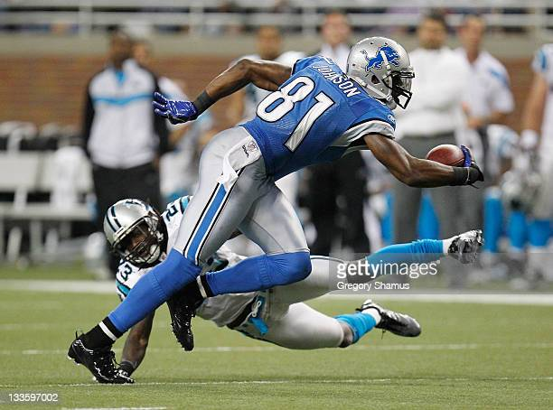 Calvin Johnson of the Detroit Lions tries to get around the tackle of Sherrod Martin of the Carolina Panthers after a fourth quarter catch at Ford...