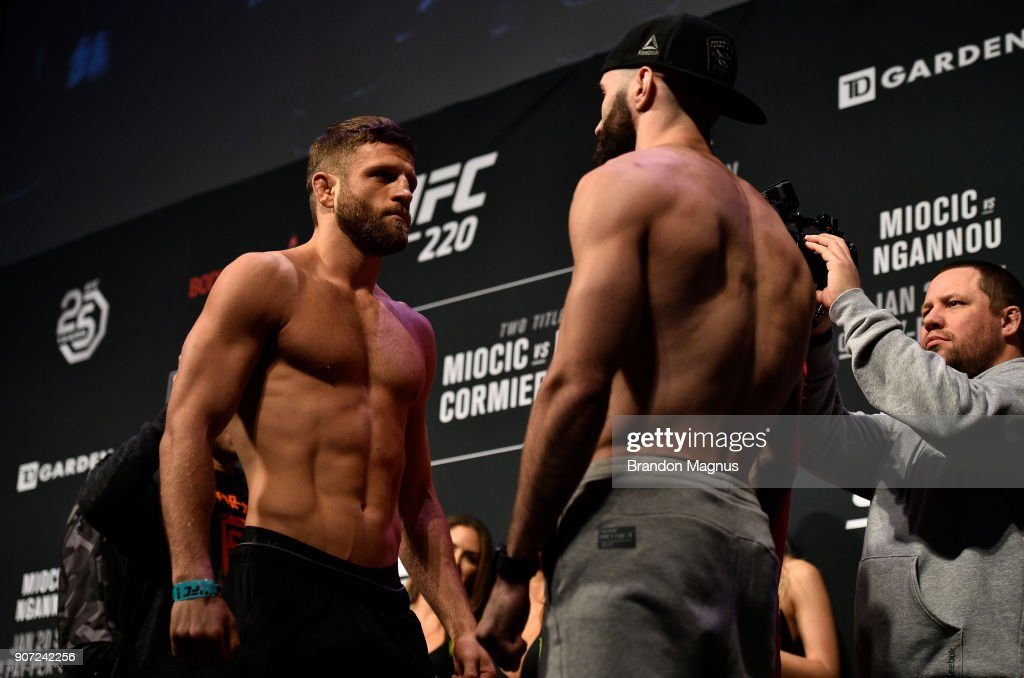 Calvin Kattar and Shane Burgos face off during the UFC 220 weigh-in at TD Garden on January 19, 2018 in Boston, Massachusetts .