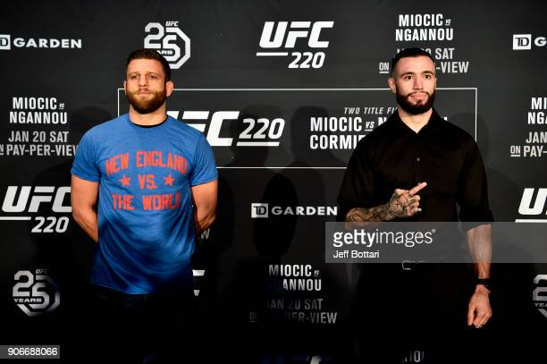 Calvin Kattar and Shane Burgos pose for the media during the UFC 220 Ultimate Media Day at Fenway Park on January 18 2018 in Boston Massachusetts