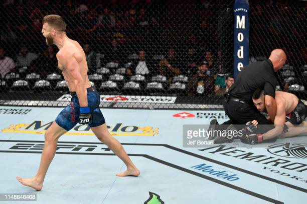 Calvin Kattar celebrates his KO victory over Ricardo Lamas in their featherweight bout during the UFC 238 event at the United Center on June 8 2019...