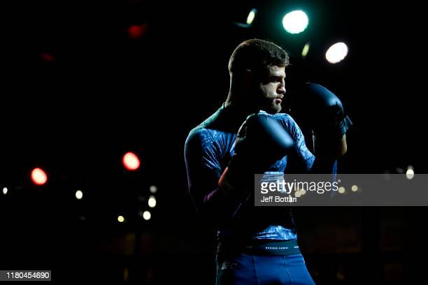 Calvin Kattar holds an open training session for fans and media during UFC Fight Night open workouts at Arbat Hall on November 6 2019 in Moscow Russia