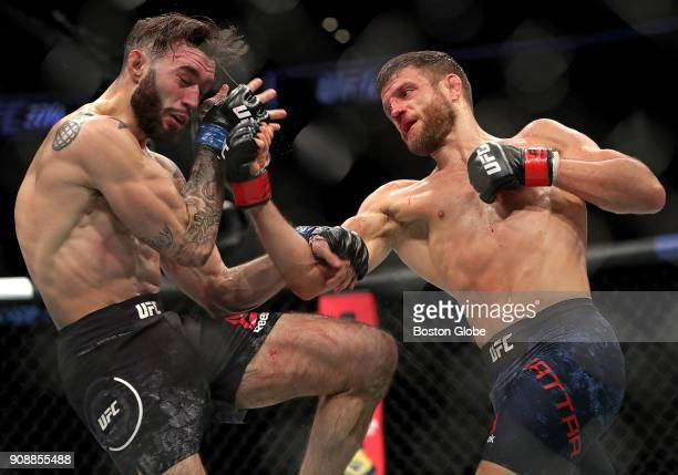Calvin Kattar right throws a punch as he defeats Shane Burgos in a Featherweights match during UFC 220 at TD Garden in Boston on Jan 20 2018