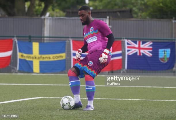 Calvin King of Barawa during Conifa Paddy Power World Football Cup 2018 Group A match between Barawa against Ellan Vannin at Coles Park Stadium...