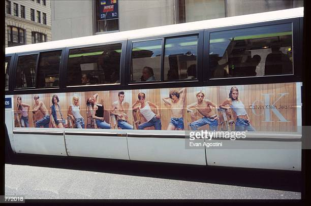 Calvin Klein advertisement is displayed on a city bus August 23, 1995 in New York City. The advertising campaign, which included print ads and...
