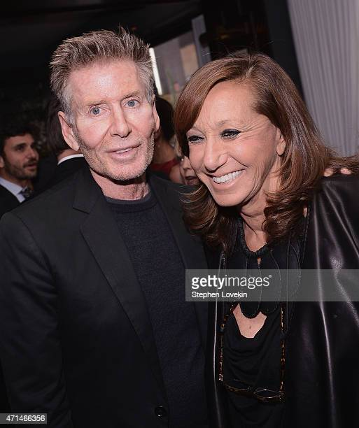 Calvin Klein and Donna Karan attend the WWD Relaunch Party at The NoMad Hotel on April 28 2015 in New York City