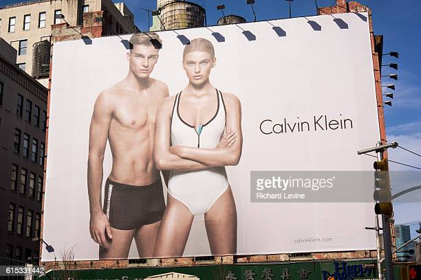 A Calvin Klein billboard advertises his line of swimming suits in the Soho neighborhood of New York on Sunday April 7 2013 The GIII Apparel Group...