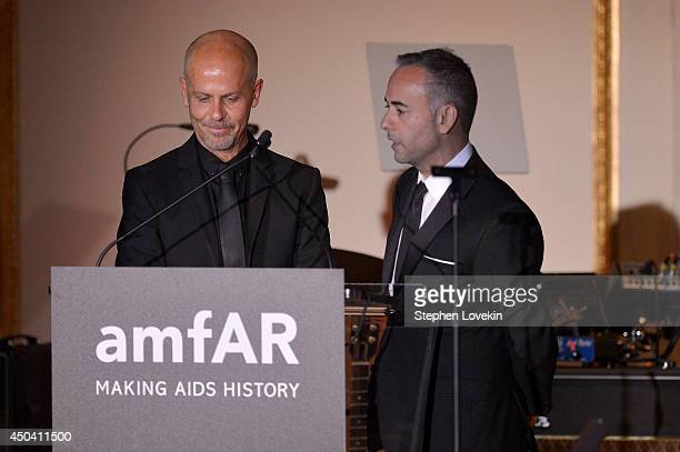 Calvin Klein Collection designers Francisco Costa and Italo Zucchelli speak onstage at the amfAR Inspiration Gala New York 2014 at The Plaza Hotel on...