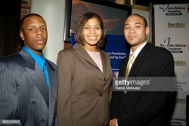 Calvin Lambert Chanel Cathey and Marcus Ellison attend Jackie Robinson Foundation celebrates Jackie Robinson's Birthday at ESPN Zone on January 23...