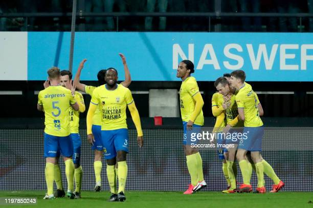 Calvin Mac Intosch of SC Cambuur, Kellian van der Knaap of SC Cambuur, Doke Schmidt of SC Cambuur celebrate goal during the Dutch Keuken Kampioen...