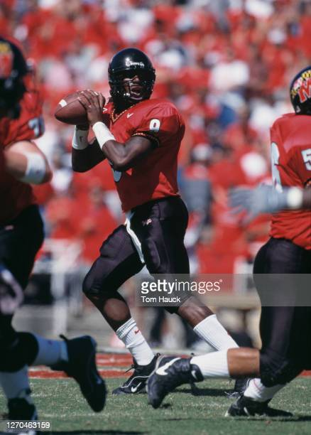 Calvin McCall, Quarterback for the University of Maryland Terrapins prepares to pass the ball downfield during the NCAA Big East Conference college...