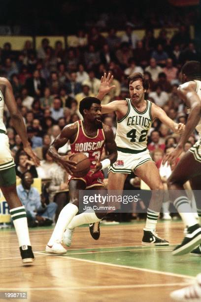 Calvin Murphy of the Houston Rockets drives against the Boston Celtics during Game Two of the 1981 NBA Finals at the Boston Garden in Boston...