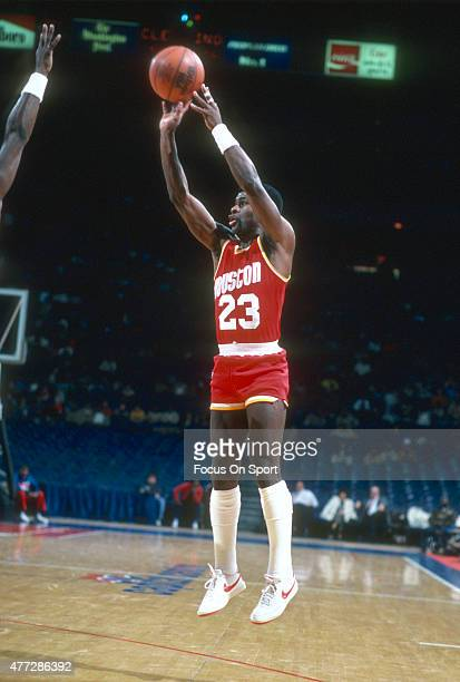Calvin Murphy of the Houston Rockets shoots against the Washington Bullets during an NBA basketball game circa 1983 at the Capital Centre in Landover...