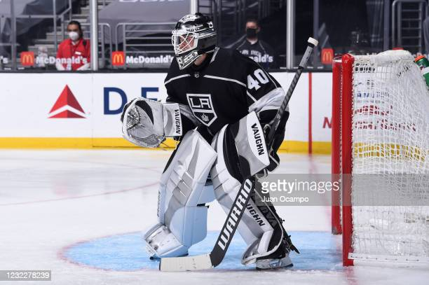 Calvin Petersen of the Los Angeles Kings gets ready for the play during the second period against the Vegas Golden Knights at STAPLES Center on April...